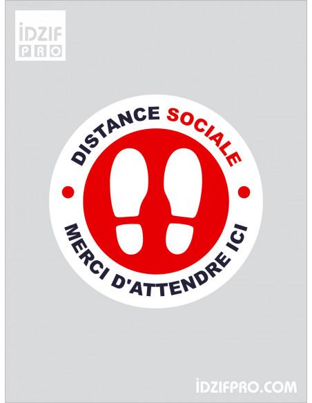 Stickers de sol distance social de sécurité fond blanc texte rouge