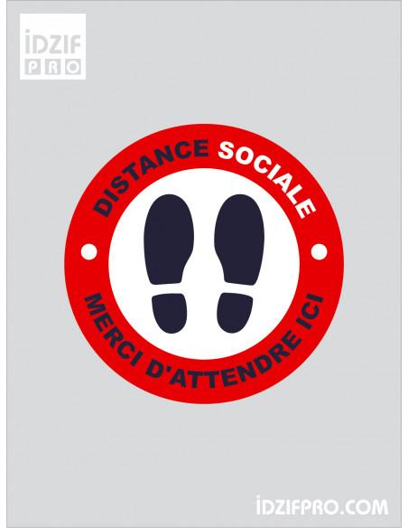 Stickers de sol distance de sécurité fond rouge texte blanc