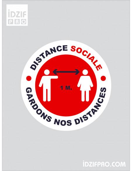 Stickers respect distance sociale fond blanc texte noir et rouge