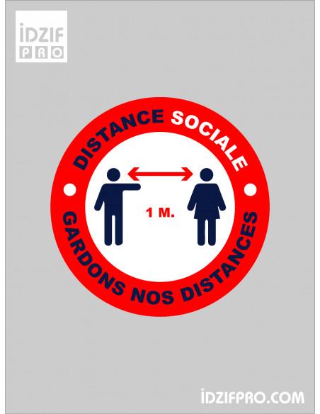 Stickers distance sociale fond rouge texte noir et blanc