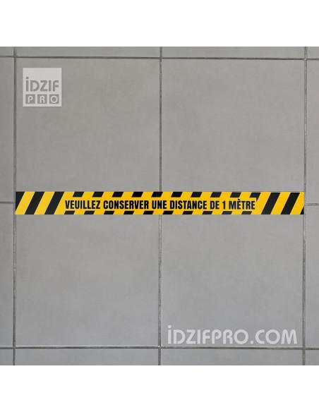 Bande de sol adhésive Distance de sécurité Covid 19 jaune et noir